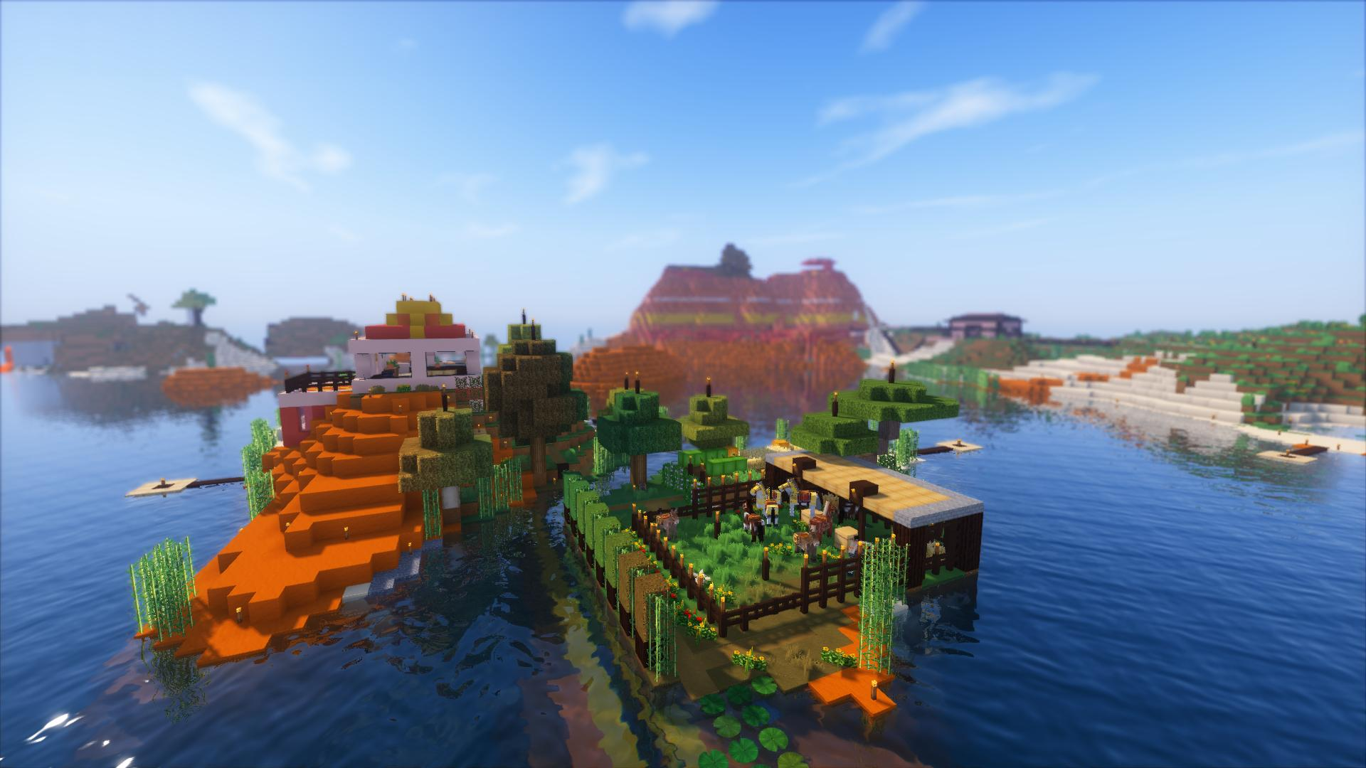 Minecraft avec OptiFine, un pack de textures et des shaders